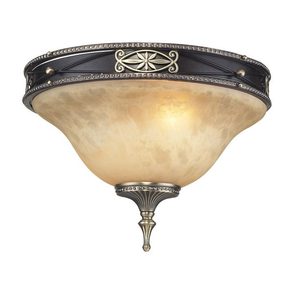Georgian 2-light Flush in Antique Bronze and Dark Umber and Marbleized Amber Glass