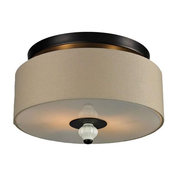 Lilliana 2-light Semi-flush in Cream and Aged Bronze