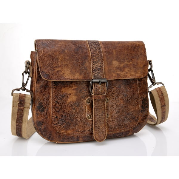 Raiders Rustic Vintage Rugged Manchester Leather Cross-body Satchel Messenger Bag