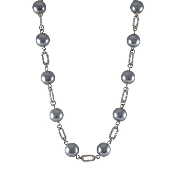 Luxiro Rhodium Finish Grey Faux Pearl Link Necklace 15539815
