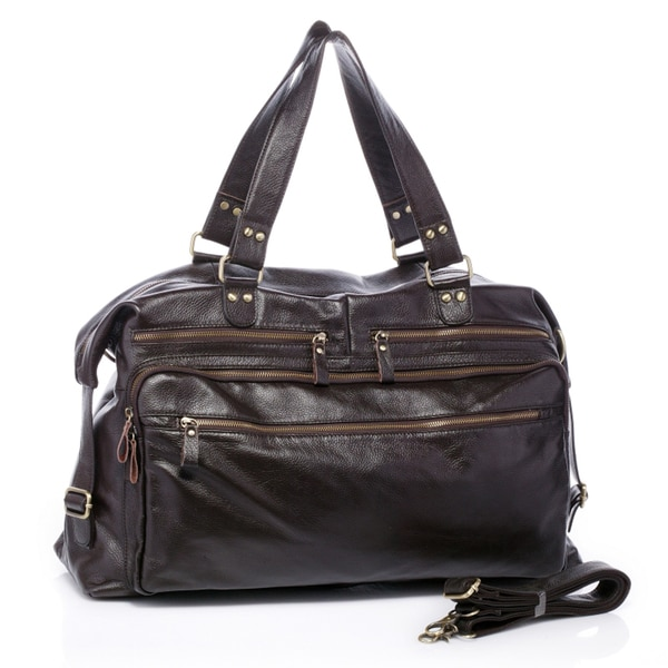 Gullivers Dark Brown Italian Leather Duffle Travel Overnight Bag