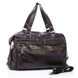 Gullivers Dark Brown Italian Leather Duffle Travel Overnight Bag