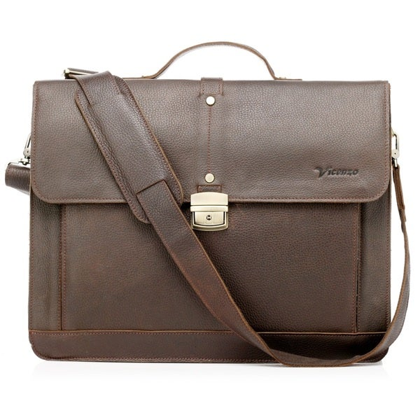 Professional X Brown Full Grain Leather Briefcase