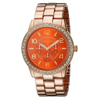 Vernier Women's Orange Dial Crystal Bezel Rose Goldtone Watch