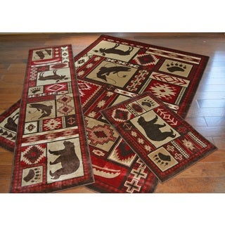 Rustic Lodge Bear 3-piece Rug Set
