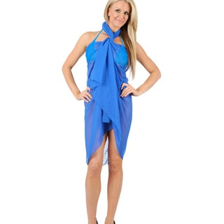 La Leela Women's Chiffon Solid Blue Cover-up Pareo Wrap