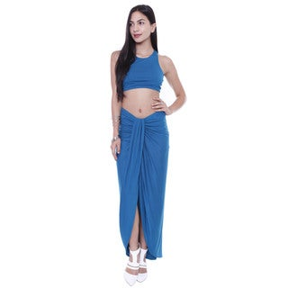 Juniors' Asymmetrical Draped Midi Skirt With Slip And Crop Top