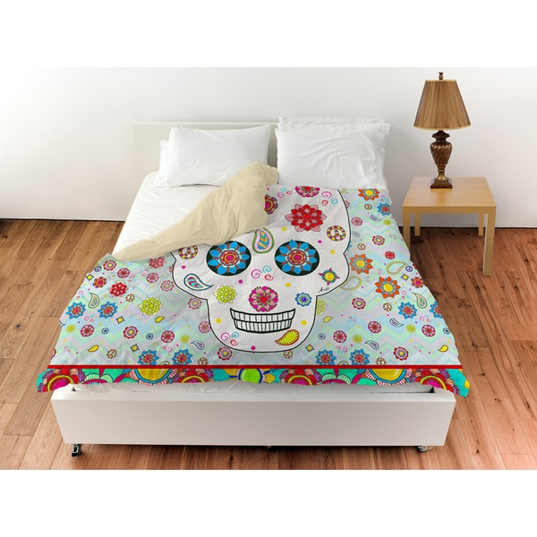 Thumbprintz Sugar Skull Colored Box Duvet Cover