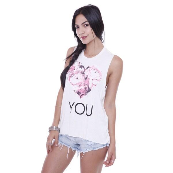 Juniors' Floral Heart Love You Print Tank Top