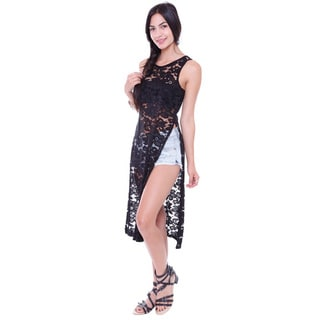 Juniors' Floral Lace Sleeveless Tunic With Split Sides