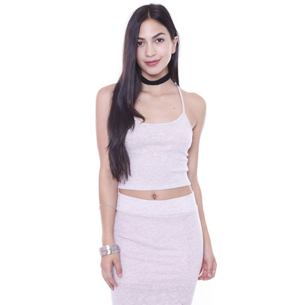 Junior's Rib Knit Pink Cross Back Crop Top