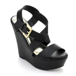 DBDK JINELA-8 Women's Criss Cross Open Toe Ankle Strap Buckle Platform Wedges