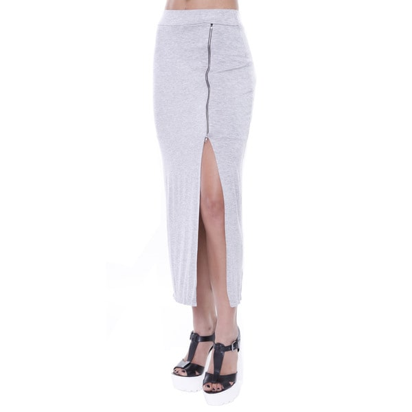 Juniors' Midi Skirt With Side Zipper