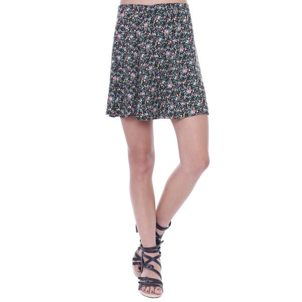 Juniors' Floral Flowy Skater Skirt