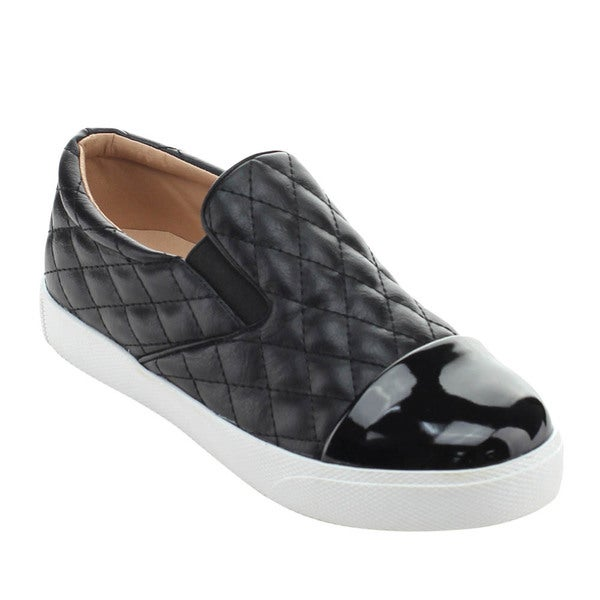 X2B ELI-2 Women's Quilted Low Top Slip On Flat Sneaker Shoes