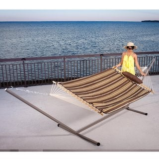 Prime Garden 15 foot 4-piece Heritage Hammock Essential Package, Yellow Stripes