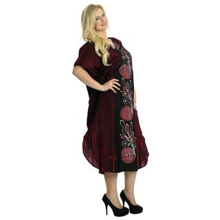 La Leela 100-percent Batik Cotton Swirl Leaf Printed Plus Size Long Kaftan Maroon
