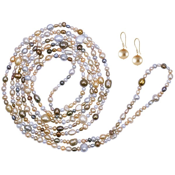 14KY Golden Brown Pearl Necklace & Earring Set
