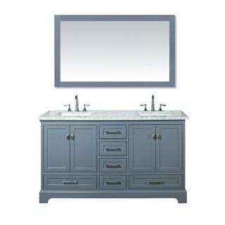 Stufurhome Chanel Grey 60 Inch Double Sink Bathroom Vanity Set