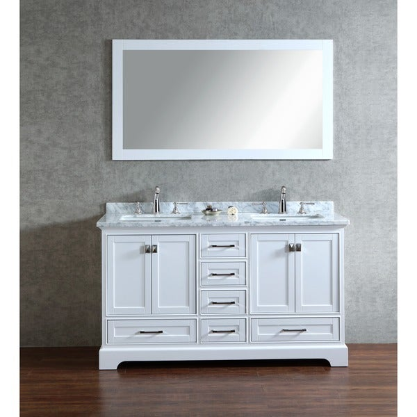 Stufurhome White 60 Inch Double Sink Bathroom Vanity Set With Mirror 173394