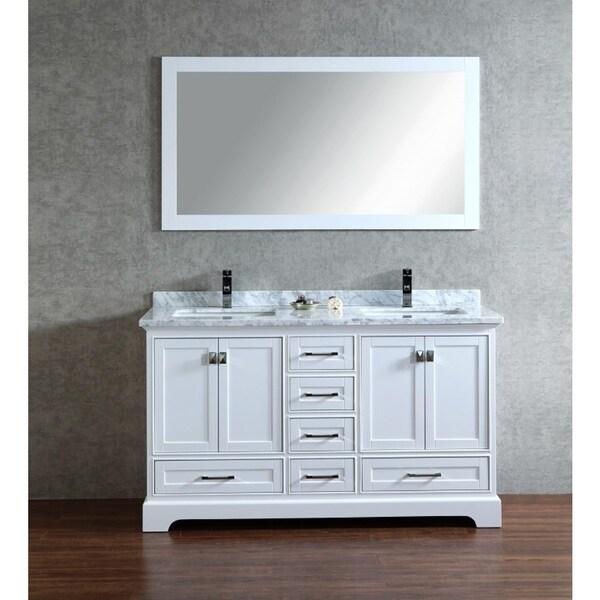Stufurhome Chanel White 72 Inch Double Sink Bathroom Vanity Set Overstock S