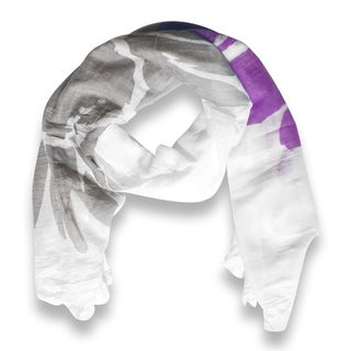Peach Couture Abstract Purple Flower Printed Lightweight Dual Colored Scarf