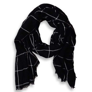 Peach Couture Black Plaid Checkered Pattern Lightweight Eyelash Fringe Scarf