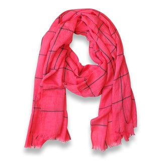Peach Couture Pink Plaid Checkered Pattern Lightweight Eyelash Fringe Scarf