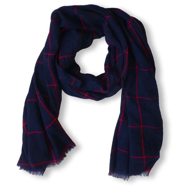 Peach Couture Navy Plaid Checkered Pattern Lightweight Eyelash Fringe Scarf