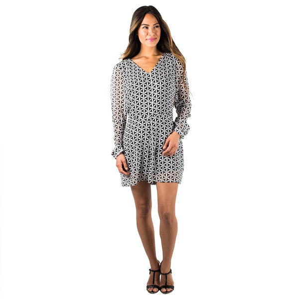 Women's Long Sleeve Black/ White Geometric Printed Romper