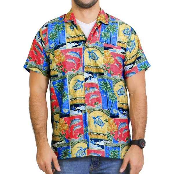 Men's Tropical Printed Aloha Hawaiian Beach Shirt