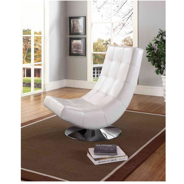 Baxton Studio Massey Contemporary White PU Leather Upholstered And Grid Tufte