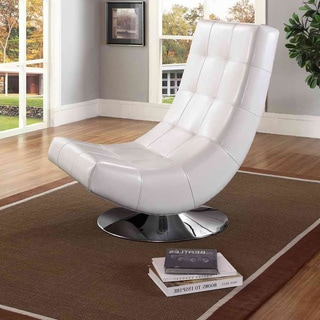Baxton Studio Massey Contemporary White PU Leather Upholstered And Grid Tufted Accent Chair With Chromed Plate Base