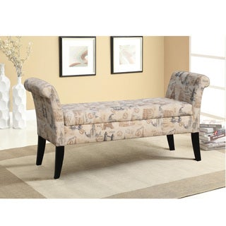Baxton Studio Marsh Contemporary Agvinon Patterned French Laundry Fabric Upholstered Storage Bench