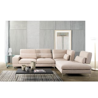 Cagle Contemporary Beige Fabric Upholstered Adjustable Backrest Sectional Sofa