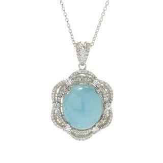 Dallas Prince Sterling Silver Aquamarine/ White Zircon Pendant Necklace