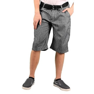 MO7 Men's Marled Print Belted Casual Shorts