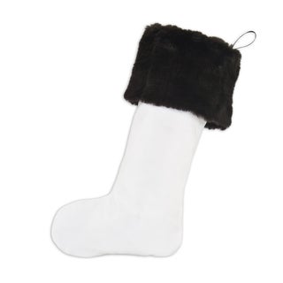 Magnum White with Auden Fur Brown Ribbon Tab Christmas Stocking