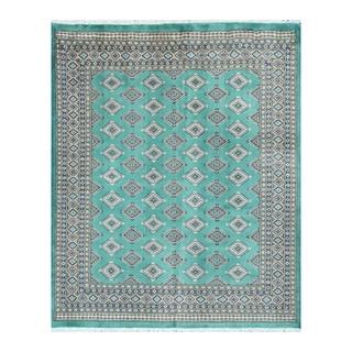 Herat Oriental Pakistani Hand-knotted Bokhara Teal/ Beige Wool Rug (6'9 x 8'4)