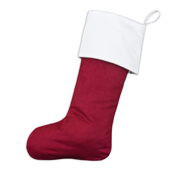 Passion Suede Cinnabar Magnum White Lined Ribbon Tab Christmas Stocking