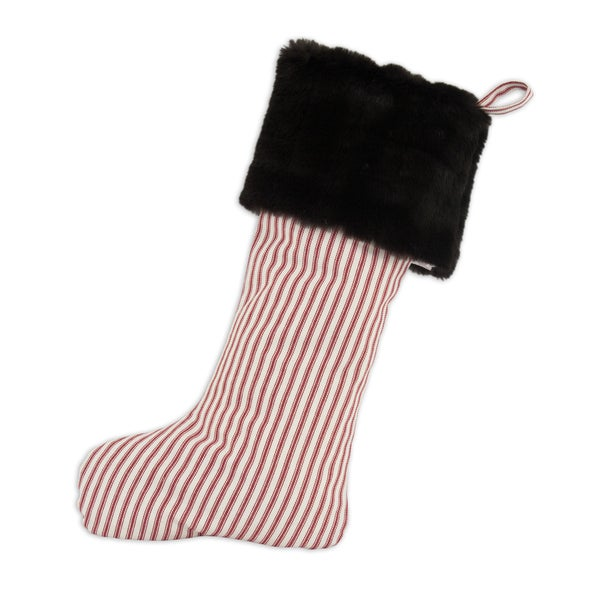 Striped Red with Auden Fur Band Stripe tab Christmas Stocking