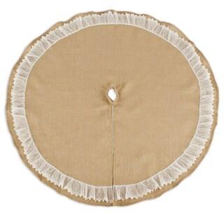 Burlap Natural 53-inch Round Ruffled Lace Tree Skirt