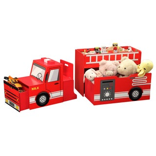 All in Fun Wood Fire Engine Toy Box with Train Set