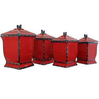 Country French Hand-painted 4-piece Square Canister Set