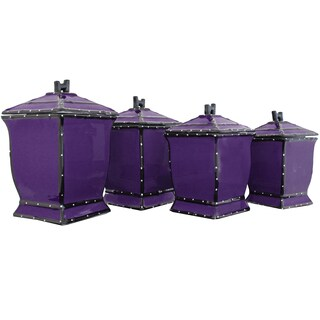 Country French Hand-painted 4-piece Purple Square Canister Set