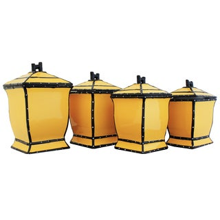 Country French Hand-painted 4-piece Yellow Square Canister Set