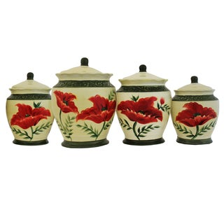 Poppy Hand-painted Food Storage Canister 4-piece Set
