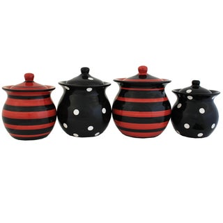 Multistriped Polka Dot Hand-painted Food Storage Canister 4-piece Set