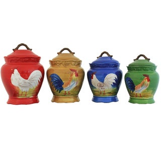 Colorful Rooster Hand-painted Food Storage Canister 4-piece Set