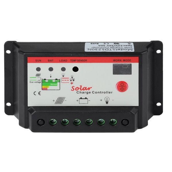 Patuoxun LCD 30A PWM Solar Panel Regulator Charge Controller 12V/24V 360W/720W with Dual USB
